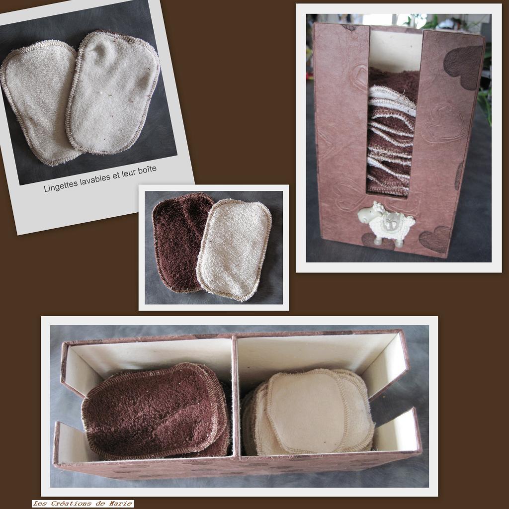 lingettes lavables et boites