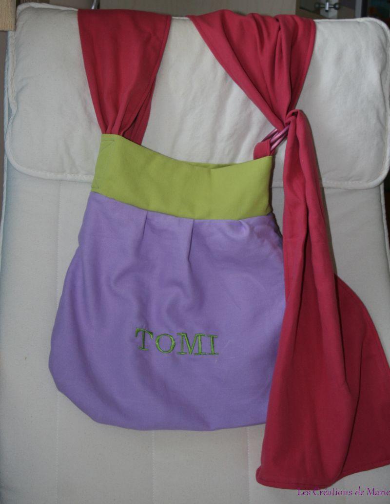 Sac de portage type slingyroo violet rose et vert