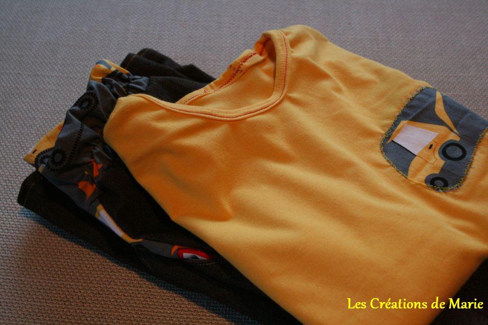 tee-shirt jaune jersey coton et jean's Ottobre enigns de chantier