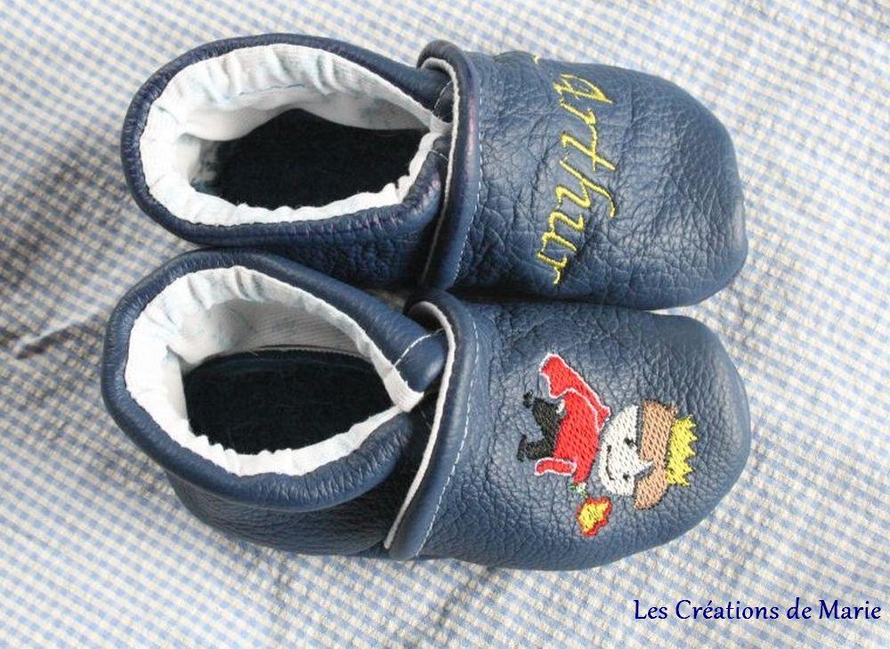 chaussons cuir Arthur avec petit roi