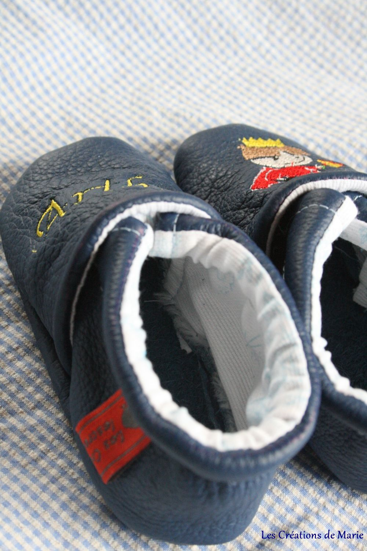 chaussons cuir arthur le petit roi et sac couches sales les cr ations de marie. Black Bedroom Furniture Sets. Home Design Ideas