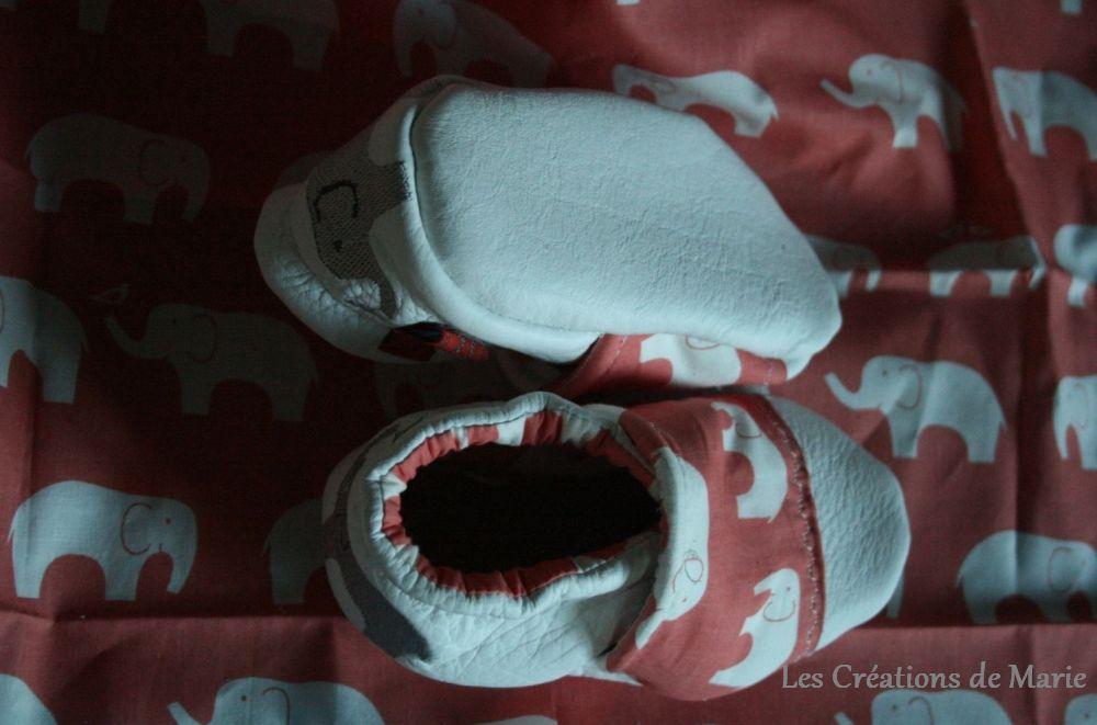chaussons cuir blanc Elephants