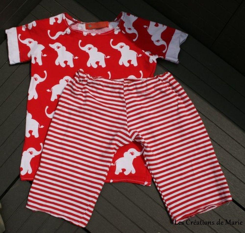 Pyjama d 39 t rouge l phant les cr ations de marie - Pyjama elephant ...