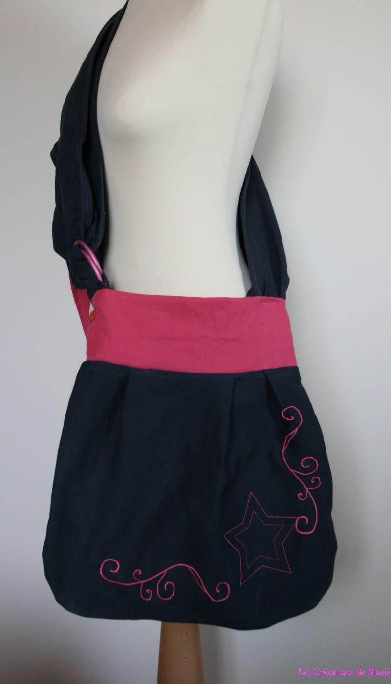 Sac de portage type slingyroo noir et rose